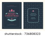 christmas greeting card design... | Shutterstock .eps vector #736808323