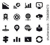 16 vector icon set   crisis ... | Shutterstock .eps vector #736808473
