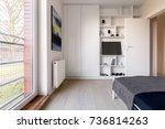 simple white bedroom with... | Shutterstock . vector #736814263