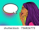 wow female face. profile of... | Shutterstock .eps vector #736826773