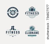 set of fitness badges with... | Shutterstock .eps vector #736827577
