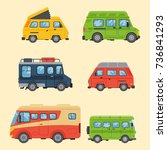 campers vacation travel car... | Shutterstock .eps vector #736841293