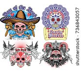 holy death  day of the dead ... | Shutterstock .eps vector #736843057