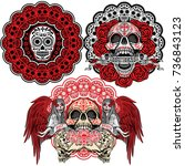 holy death  day of the dead ... | Shutterstock .eps vector #736843123