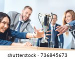 close up shot of businesspeople ... | Shutterstock . vector #736845673