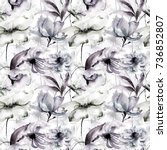 seamless pattern with wild... | Shutterstock . vector #736852807