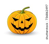 card with a evil pumpkin for... | Shutterstock . vector #736862497