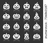 carving face halloween pumpkin... | Shutterstock .eps vector #736863187