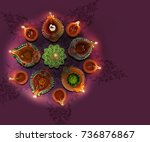 colorful diya during diwali... | Shutterstock . vector #736876867
