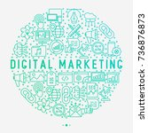digital marketing concept in... | Shutterstock .eps vector #736876873
