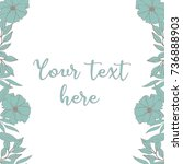 square floral frame  turquoise... | Shutterstock .eps vector #736888903