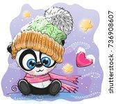 Cute Cartoon Black Kitten In A...