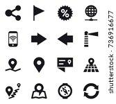 16 vector icon set   share ... | Shutterstock .eps vector #736916677