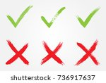 vector check marks.tick and... | Shutterstock .eps vector #736917637