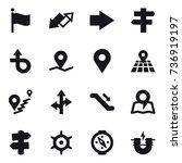 16 vector icon set   flag  up... | Shutterstock .eps vector #736919197
