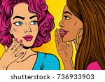 pop art girls secret... | Shutterstock .eps vector #736933903