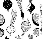 sketch style onion seamless... | Shutterstock .eps vector #736935247