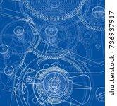 cogs and gears of clock. vector ... | Shutterstock .eps vector #736937917