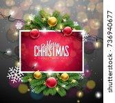 vector merry christmas... | Shutterstock .eps vector #736940677