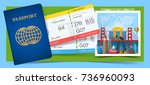 time to travel concept. banner... | Shutterstock .eps vector #736960093