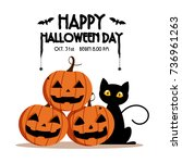 happy halloween day    bat and... | Shutterstock .eps vector #736961263