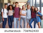 teenage classmates standing in... | Shutterstock . vector #736962433