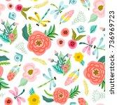 vector lovely seamless pattern... | Shutterstock .eps vector #736969723
