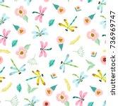 vector lovely seamless pattern... | Shutterstock .eps vector #736969747