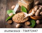 fresh nutmeg | Shutterstock . vector #736972447