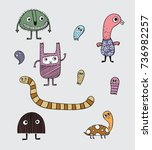 these many monsters varied in... | Shutterstock .eps vector #736982257