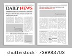 Newspaper template design. A mockup of a newspaper layout for a business promotional news, typographic print. Vector flat style cartoon illustration | Shutterstock vector #736983703
