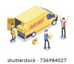 fast delivery concept. van  man ... | Shutterstock .eps vector #736984027