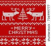 christmas jumper knitted...   Shutterstock .eps vector #736999777