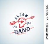 arrow in the hand abstract logo ... | Shutterstock . vector #737006533