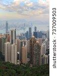 cityscape of hong kong skyline... | Shutterstock . vector #737009503