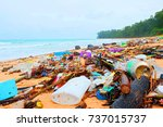 beach pollution  plastic and... | Shutterstock . vector #737015737