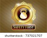 shiny emblem with kettlebell... | Shutterstock .eps vector #737021707