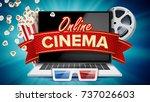 online cinema poster vector.... | Shutterstock .eps vector #737026603