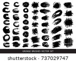set of black paint  ink brush... | Shutterstock .eps vector #737029747