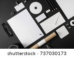 blank simple stationery mock up ...   Shutterstock . vector #737030173
