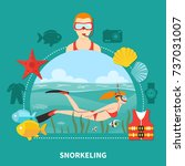 snorkeling composition with...   Shutterstock .eps vector #737031007