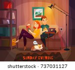 evening rest of couple scene... | Shutterstock .eps vector #737031127