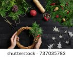 manufacturer of christmas decor ... | Shutterstock . vector #737035783