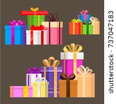gift boxes pack composition... | Shutterstock .eps vector #737047183