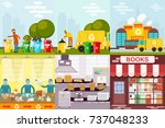 waste recycling garbage process ... | Shutterstock .eps vector #737048233