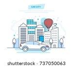 car city concept. car driving ... | Shutterstock .eps vector #737050063