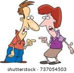 cartoon man and woman in an... | Shutterstock .eps vector #737054503