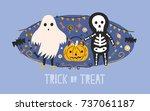 children dressed in halloween... | Shutterstock .eps vector #737061187