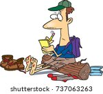 cartoon hiker sitting on a log... | Shutterstock .eps vector #737063263