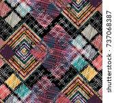 seamless pattern patchwork... | Shutterstock . vector #737068387